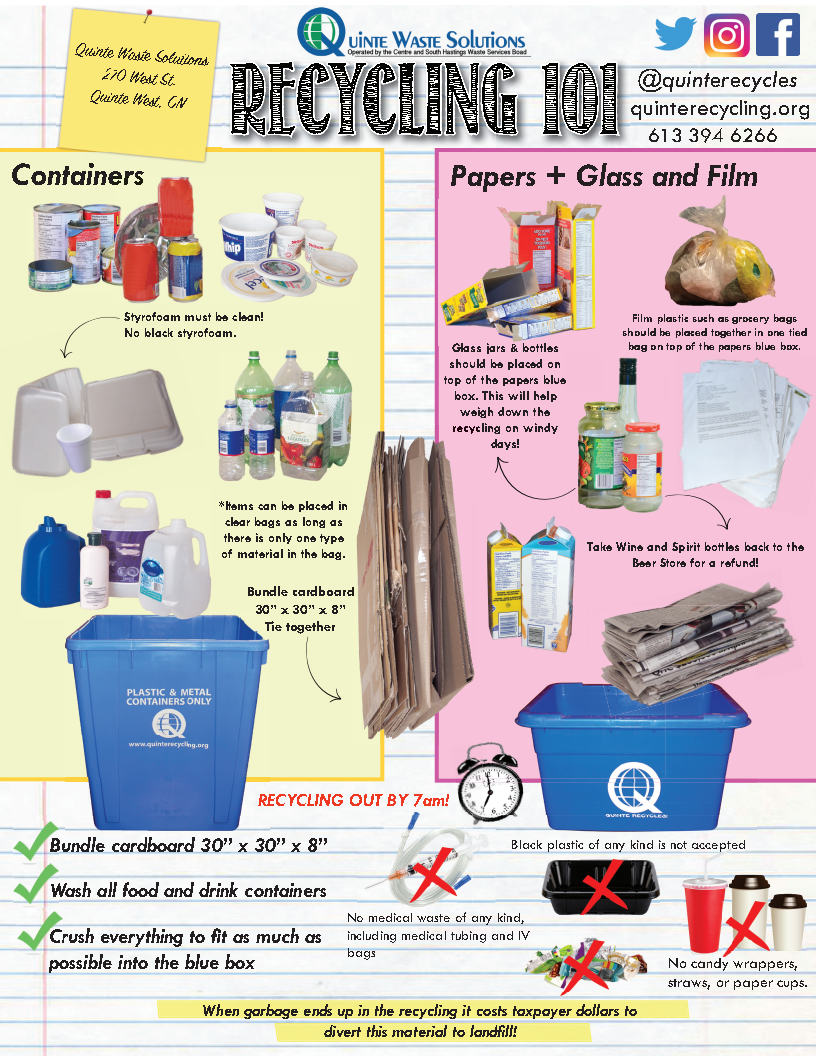 """Containers: Styrofoam must be clean. Items can be placed in clear bags as long as there is only 1 type of material in the bag. Bundle cardboard 30"""" x 30"""" x 8"""" tie together. Paper & Glass: Glass jars & bottles should be placed on top of papers in the blue box. Film plastics such as Grocery bags should be placed tother in 1 tied bag. Wine & spirit bottles should go back to the store. Wash all food & drink containers. Crush everything to fit as much as possible into the blue box. No medical waste acceptable. No candy wrappers, straws or paper cups. No black styrofoam or plastic containers."""