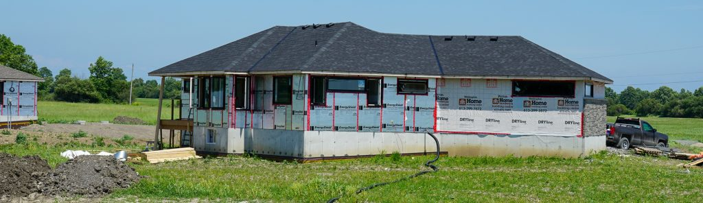 New houses under construction on County Rd 1 and Mathie Road. Photo by Trevor Crowe.